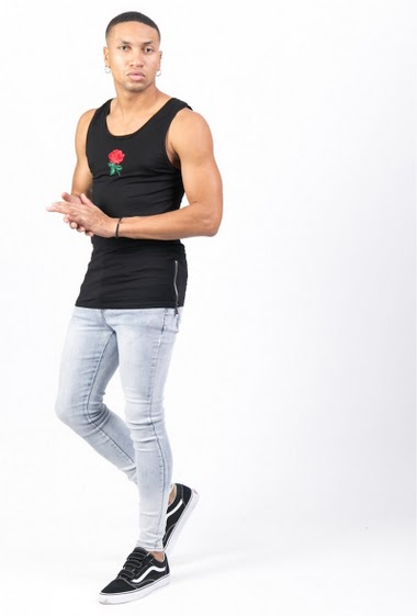 Sixth June embroidered rose Tank black