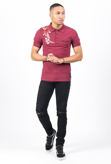 Sixth June roses embroidered Polo burgundy