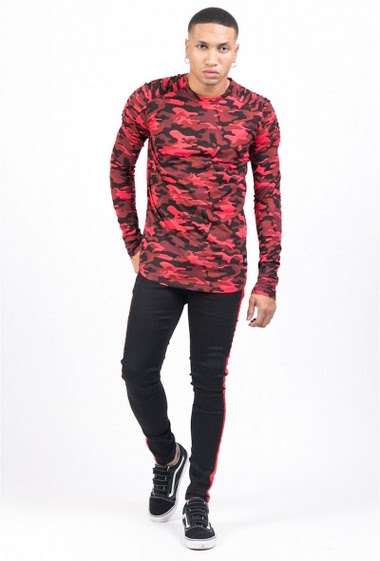 T-shirt camouflage biker manches longues Sixth June rouge