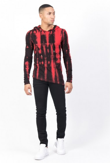 Sixth June washed hood T-shirt black red