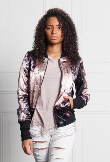 Bomber Jacket Sixth June Women Pink. Floral print. Satin fabric. Side pockets.