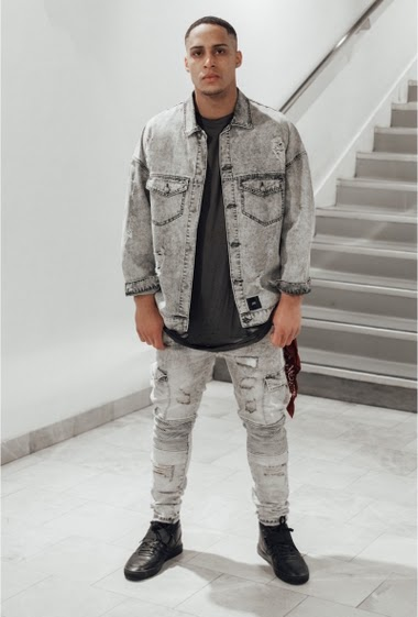 Denim jacket Sixth June Men. Grey denim. Destroyed effect. Oversized cut.