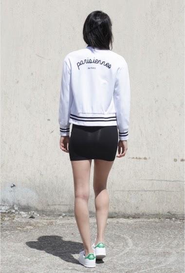 Jacket teddy white Sixth June Women. Parisiennes de Paris on the back. Press stud.