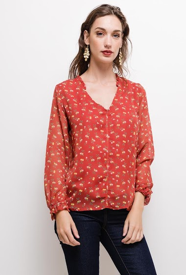 Blouse with printed flowers. The model measures 177cm and wears M. Length:65cm
