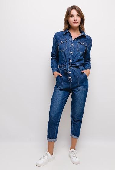 combinaison en jean,La mannequin mesure 175cm et porte du S. Longueur:140cm