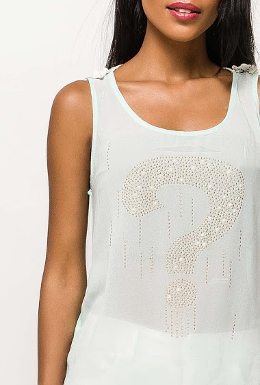 Tank top with question mark, back with lace. The model measures 172cm and wears S/M. Length:70cm