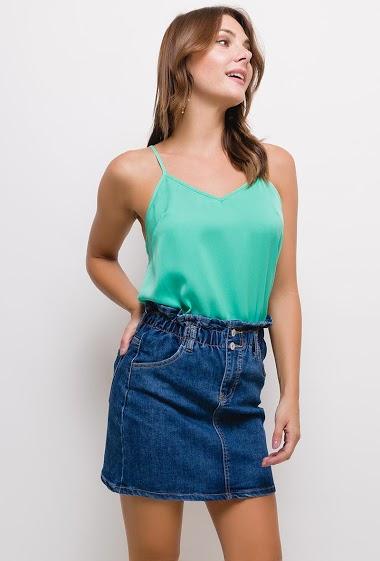 Jupe en jean,La mannequin mesure 175cm et porte du S