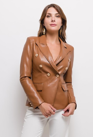 Leatherette jacket,The model measures 175cm and wears S. Length:60cm