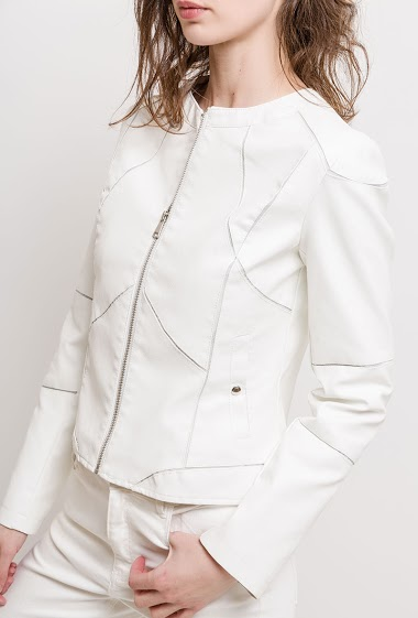 Biker collarless jacket. The model measures 177cm and wears M. Length:55cm