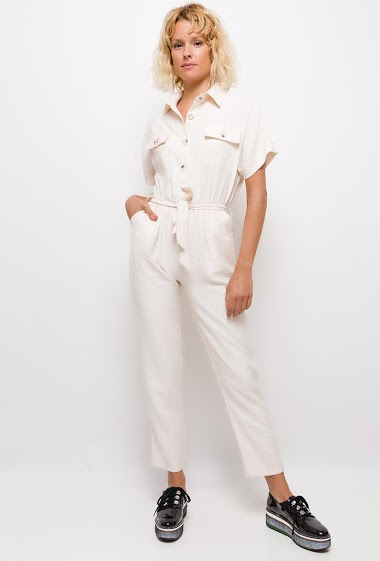 Button jumpsuit,The model measures 177cm and wears S. Length:140cm
