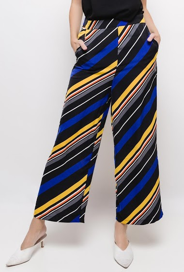 Loose satin pants with stripes,The model measures 178cm and wears S