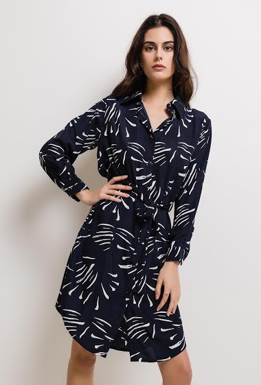 Patterned dress, long sleeves. The model measures 176cm and wears S. Length:100cm