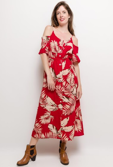 Tropical dress, button front. The model measures 176cm and wears S. Length:130cm