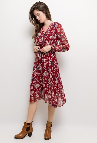 Wrap dress with printed flowers, long sleeves. The model measures 176cm and wears S. Length:110cm