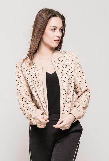 Bomber jacket, perforated pattern, zip closure, fake pockets. The model measures 175cm and wears S