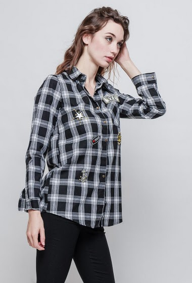 Checked shirt in cotton, patches. The model measures 177 cm and wears S/M - Brand STELLA