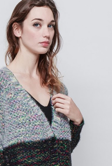 Colorful knitted cardigan, button placket, pockets, regular fit. The model measures 177 cm and wears S/M - Brand EXTELLE