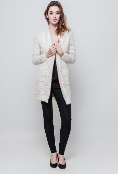 Soft knitted cardigan, open front, pockets. The model measures 177 cm and wears S/M - Brand EXTELLE