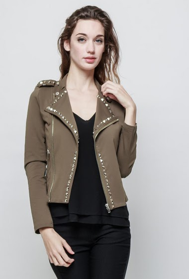 Jacket decorated with studs, zipped pockets, close fit. The model measures 177 cm and wears S - Brand EXTELLE