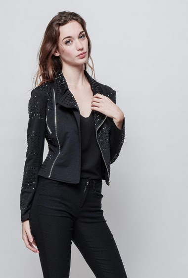 Jacket decorated with strass, zipped pockets, close fit. The model measures 177 cm and wears S - Brand EXTELLE