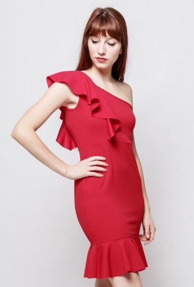 Asymmetric dress, ruffles, close fit, stretch fabric, padded chest. The model measures 174cm, one size corresponds to 38-40