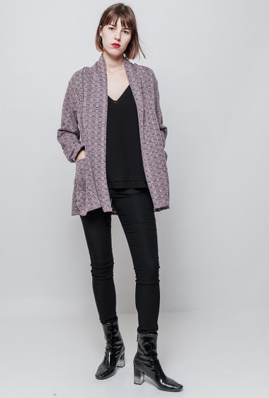 Open cardigan, shawl collarn pockets, stretch fabric. The model measures 172 cm, one size corresponds to 36/40.