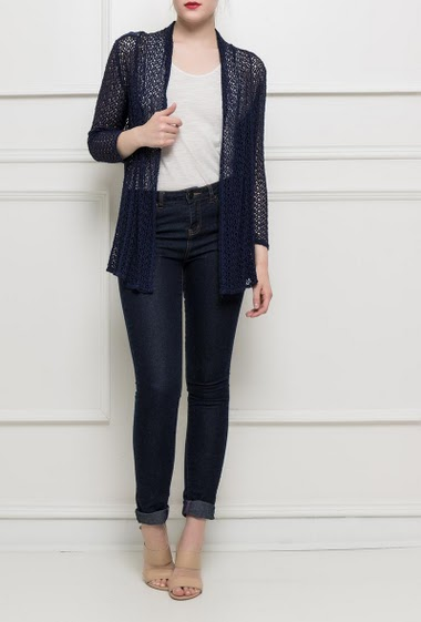Long open cardigan, fancy back with crochet  - TU corresponds to T38/40