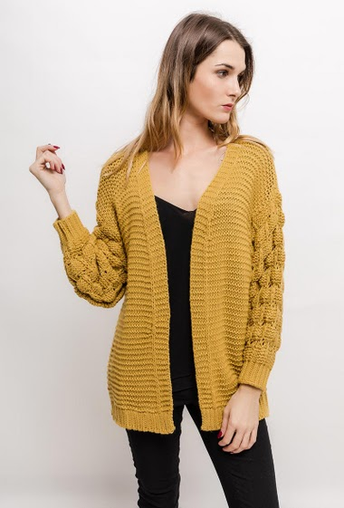 Cardigan with pompons on the sleeves, TU corresponds to 40/42, Length: 70cm