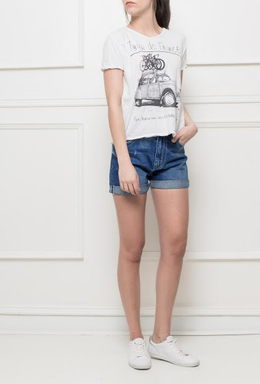 Cotton t-shirt with short sleeves, regular fit