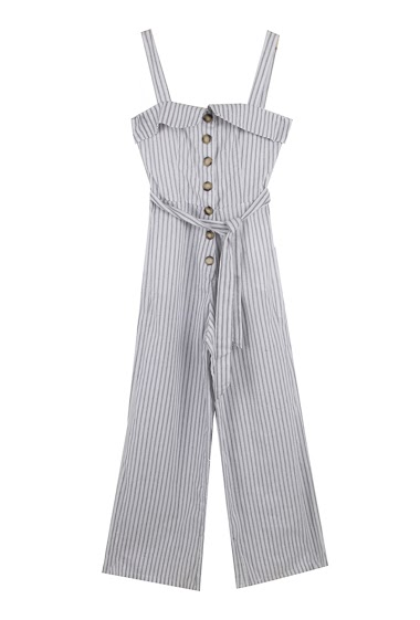 Striped jumpsuit, high bustier shape, close by button. The model measures 178cm and wears S.