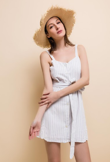 striped playsuit. The model measures 170cm and wears S.
