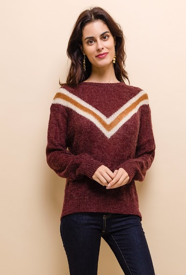 Women's round neck sweater, long sleeves, colorblock. The model is 172 cm tall and is wearing a size S.