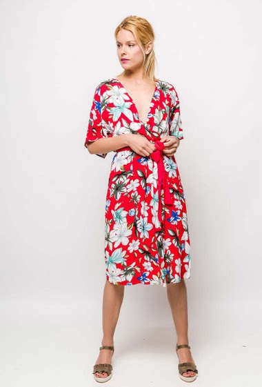 Midi wrap dress, printed flowers, belt. The model measures 177cm and wears S. Length:115cm