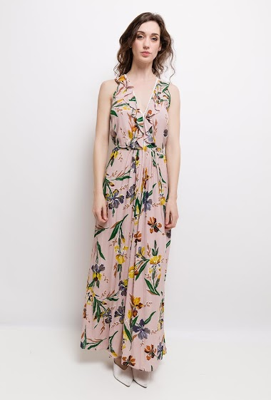 Printed dress, V-neck, sleeveless. The model measures 177cm and wears S.
