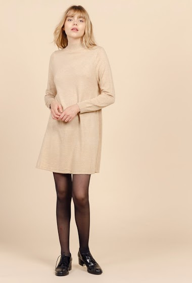 High collar sweater dress