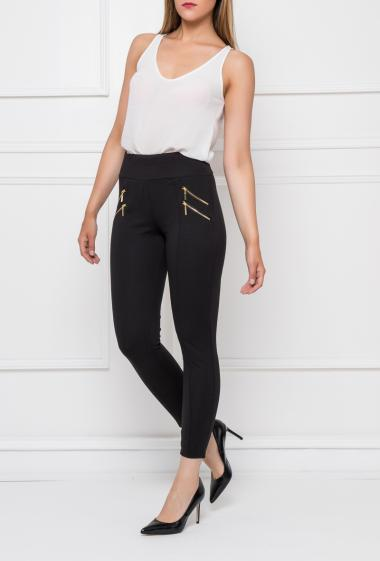 Casual leggings with elastic and hight waist, gold double zip