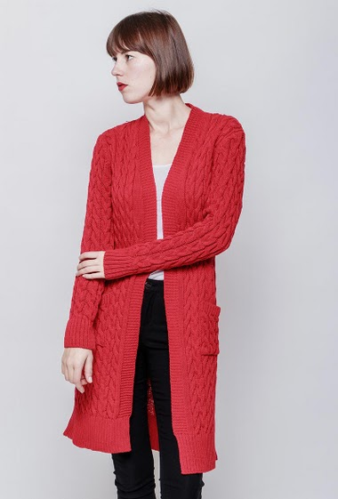 Long open cardigan, pockets. The model measures 172cm, one size corresponds to 38-40