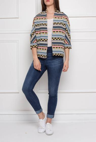 Jacquard jacket with geometric pattern, three-quarter sleeves