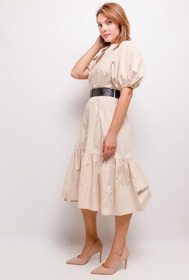 UNIGIRL puff sleeve midi dress CIFA FASHION