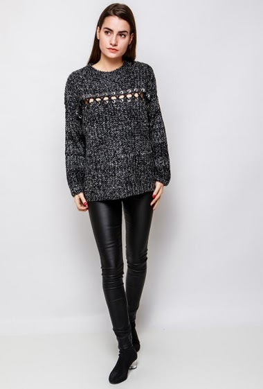 Knitted sweater, lace-up front, casual fit. The model measures 172cm, one size corresponds to 38-40