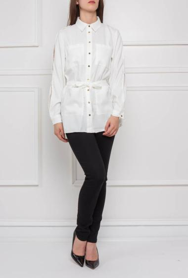 Shirt with slited long sleeves, pockets and belt