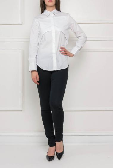 Cotton shirt with open back, long sleeves