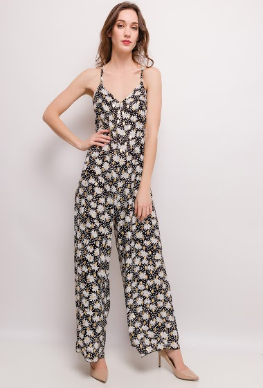 Dress with printed flowers, gold pattern. The model measures 177cm and wears S. Length:150cm