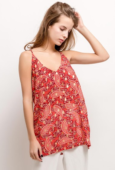 Tank top with printed flowers and gold pattern. The model measures 171cm and wears S. Length:70cm