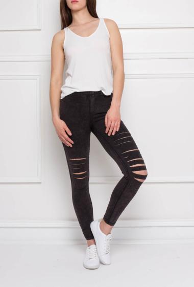 Leggings with rips, elastic waist