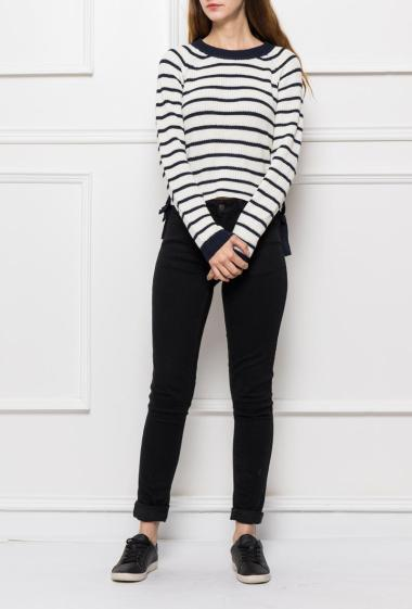 Knit pullover with stripes and lacing on the sides