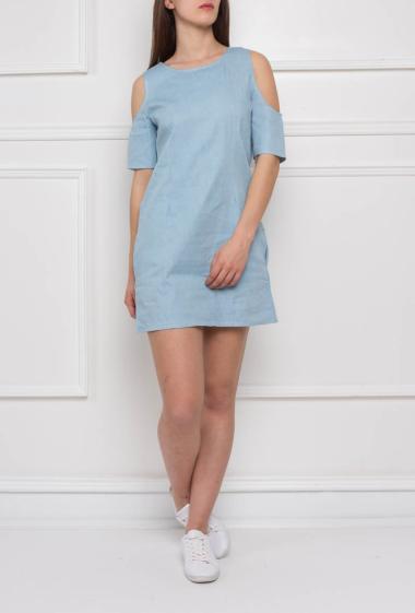 Off shoulder dress with pockets, short sleeves