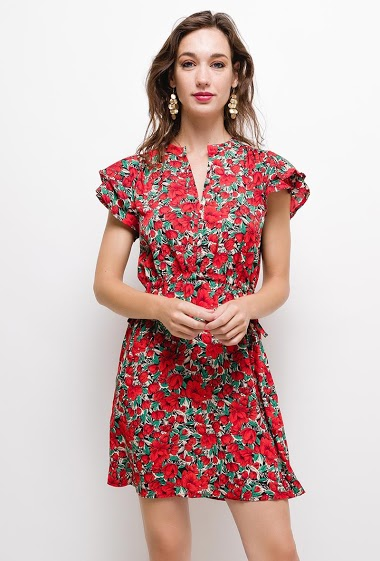 Floral dress,The model measures 177cm and wears T1/S. Length:90cm