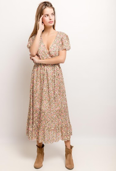 Midi dress with printed flowers, gold pattern. The model measures 171cm and wears S. Length:121cm