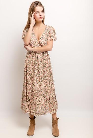 Robe midi à imprimé fleurs, motifs dorés. La mannequin mesure 171cm et porte du S. Longueur:121cm